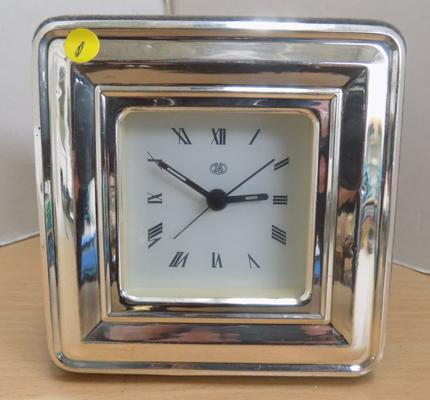 Silver fronted battery clock