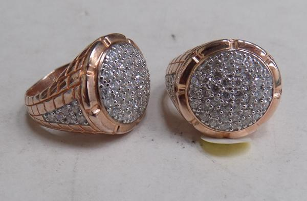 2x Rose gold colour 925 silver cz rings