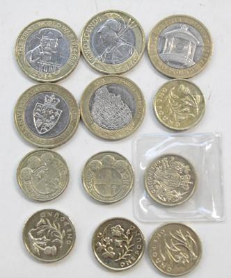 Selection of £1 & £2 coins