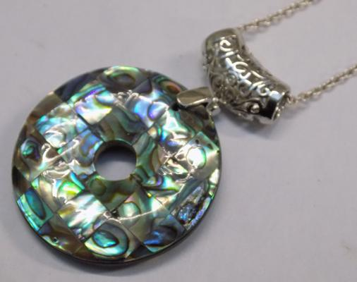 Double sided Albany shell pendant on sterling silver chain