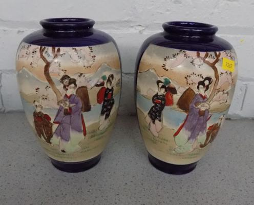 Pair of Japanese vases approx 19cm tall