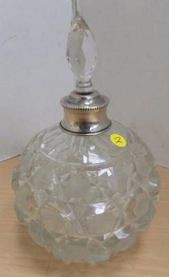 925 Silver collar cut glass scent bottle