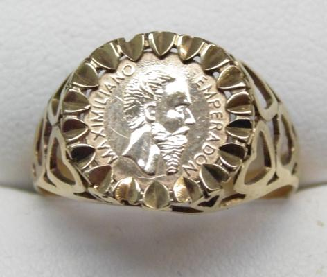 9ct Gold ring set with a Mexican gold coin size R