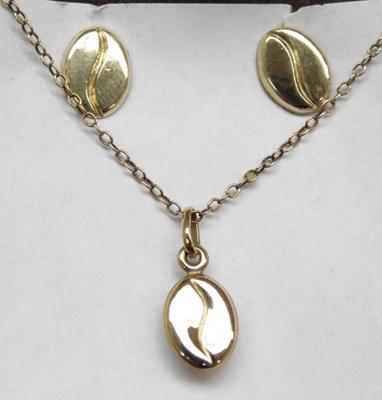 9ct Gold coffee bean necklace & matching earrings