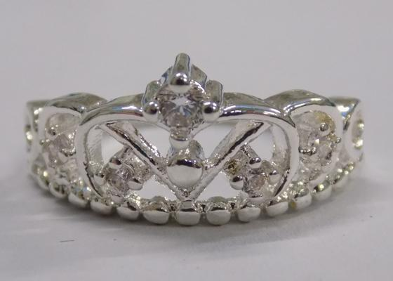 925 Silver tiara ring approx size N