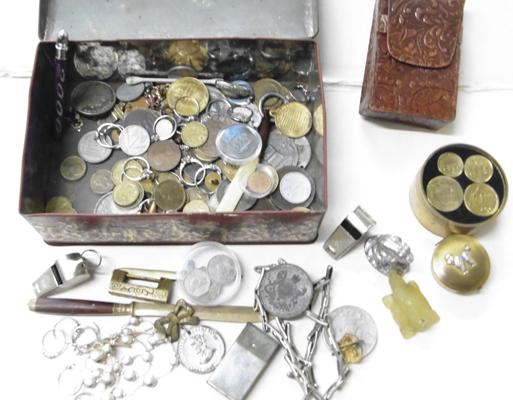 Tin full of mixed collectables inc coins