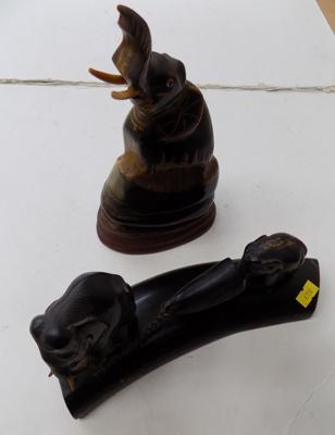 2x Carved horn & elephant ornaments