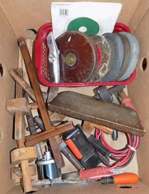 Box of vintage tools incl. tapes