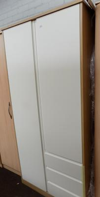 Double wardrobe white with 3 drawers ex display