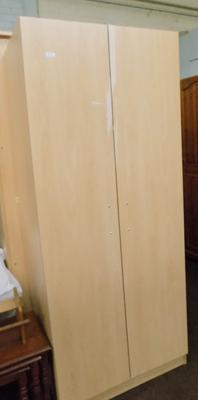 Small double Beech effect wardrobe ex display