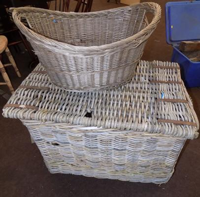 Two large vintage wicker baskets