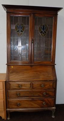 Bureau display cabinet with leaded glass
