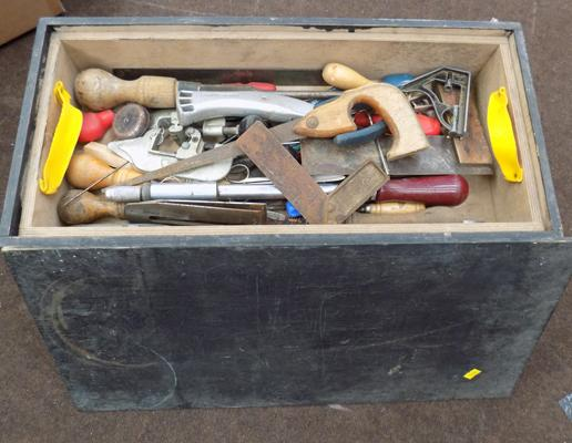 Wooden crate of tools