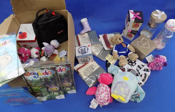 Box of various new items - household, kids etc... - ideal for car booters