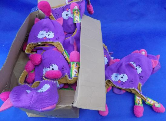 Large box of girl's 'Squeeze Me' hats