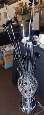 Tall flower LED lamp - black/chrome - with box