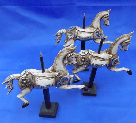 Three wooden decorative carousel horses (as seen)