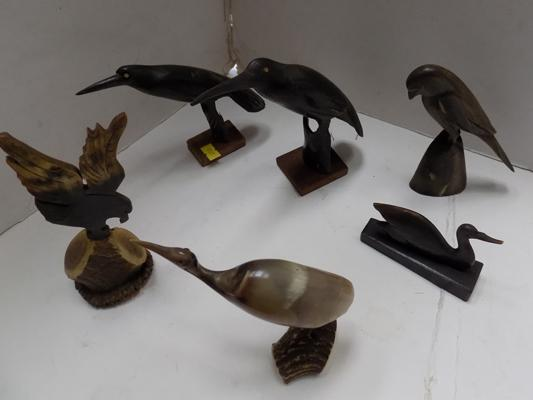 Collection of birds carved from horn & antler