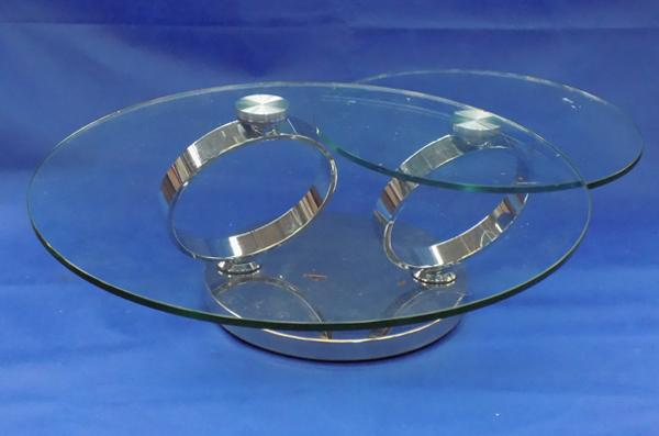 Modern glass and chrome coffee table