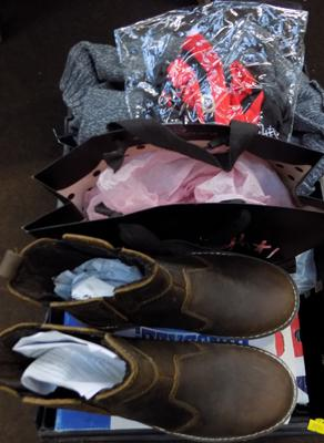 Box of clothes, shoes, sunglasses