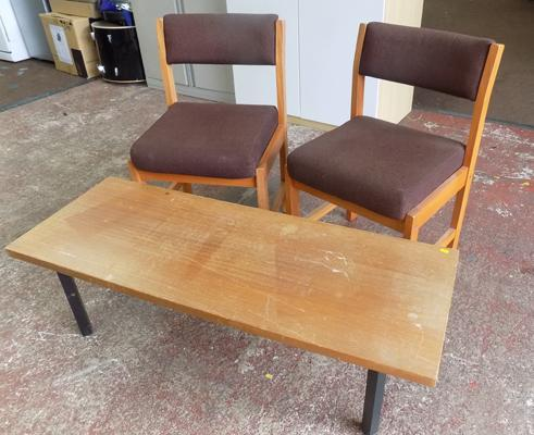 Two office style chairs & coffee table