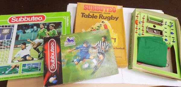 Four vintage boxed Subbuteo sets, 2 football, 1 rugby, 1970's