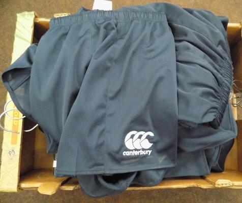 23 pairs of new Canterbury rugby shorts -black/blue