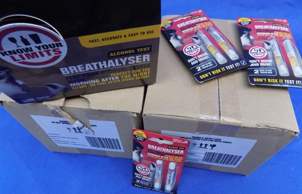 Three boxes of Breathalysers - alcohol test kits