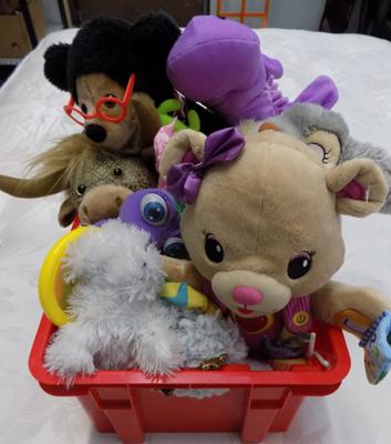 Box of soft toys & dolls clothes