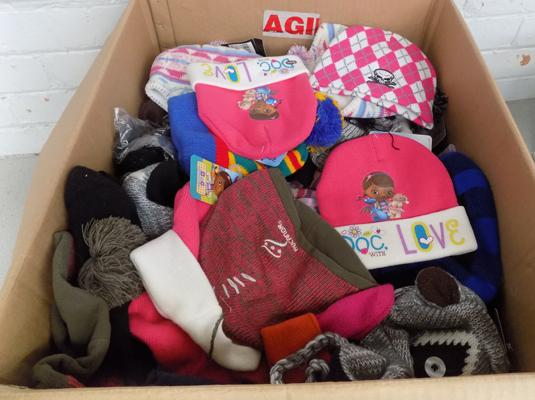Large box of children's hats (new)