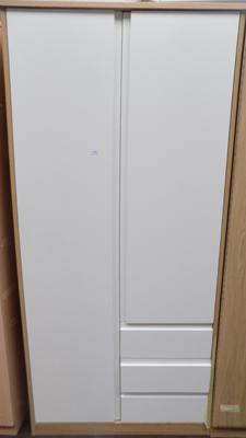 Double wardrobe white with drawers ex display