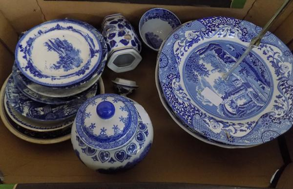 Box of blue & white pottery