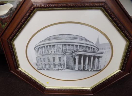 Octagonal vintage framed picture of Manchester Library - 50x62cm