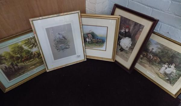 Five framed watercolours + prints, some signed