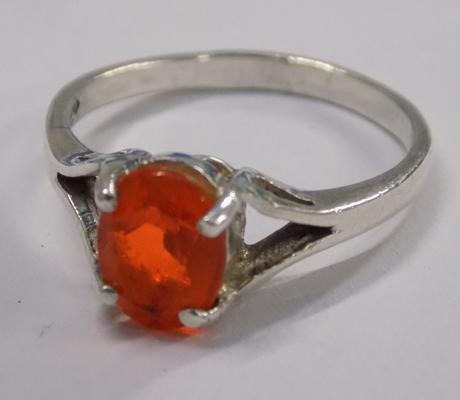 Sterling 925 silver ring with unusual orange stone M1/2