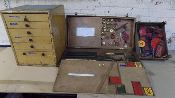 6 Drawer chest of vintage Meccano & 3 drawer cabinet of vintage Meccano & tray of mixed Meccano