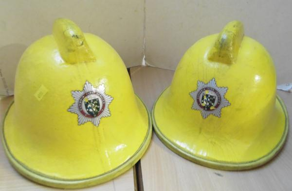 2x Genuine Cumbrian fire helmets-1990's