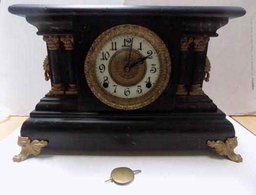 American Ingram 8 day mock slate mantel clock - no key, with pendulum in working order