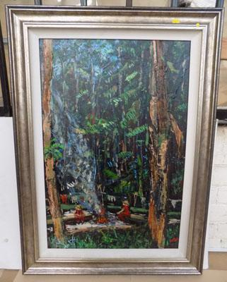 Original framed mixed media painting by Timmy Mallett-Forrest Scene from his time in the Celebrity Jungle, size-69cm x 95cm