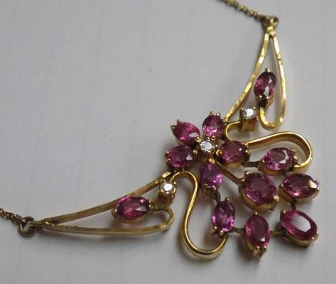 14ct Gold & Ruby necklace with diamonds