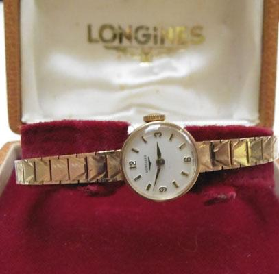 Vintage ladies Longines 9ct gold watch original box w/o