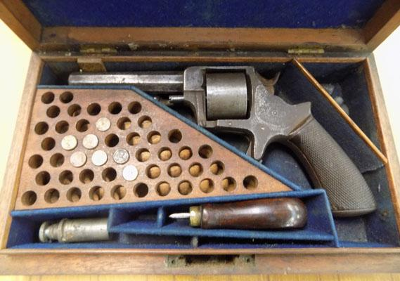 Obsolete calibre .32 rim fire 5 shot revolver in its box with 7 empty cases, oil bottle & turn screw by John Jefferson 37 St Nicholas Street, Scarborough 1854-1867