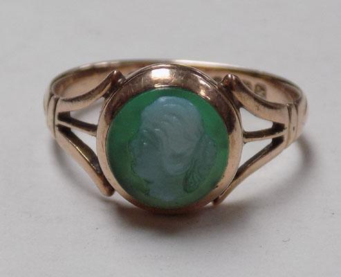 Antique 9ct gold Chester hallmarked cameo ring, size approx L