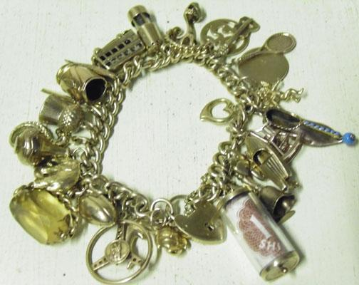 9ct Gold charm bracelet 29 charms