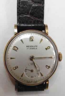9ct Gold resolute 17 jewel watch w/o