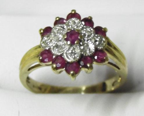 9ct Gold diamond & ruby cluster ring size N1/2