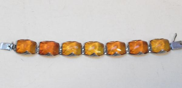 1930's 935 silver and amber bracelet from S.B.M Konigsberg