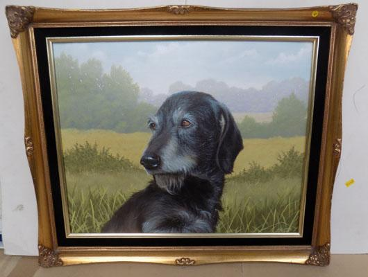 Framed painting signed J Silver-Wolfhound oil on board