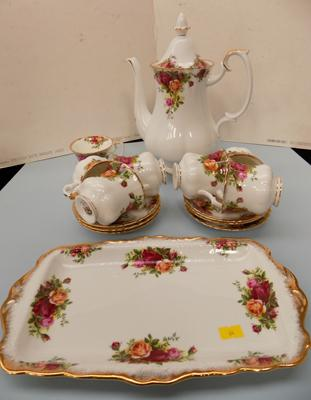 Royal Albert country rose coffee set & sandwich plate-seconds & coffee pot-first all no damage