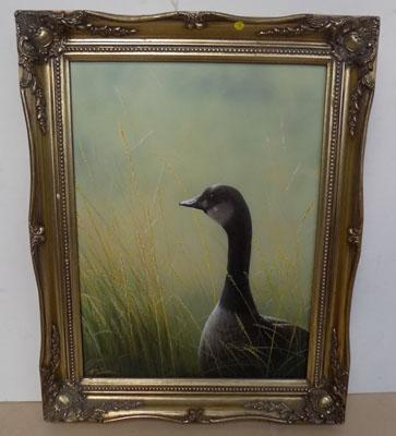 Framed painting signed J Silver- Goose oil on board